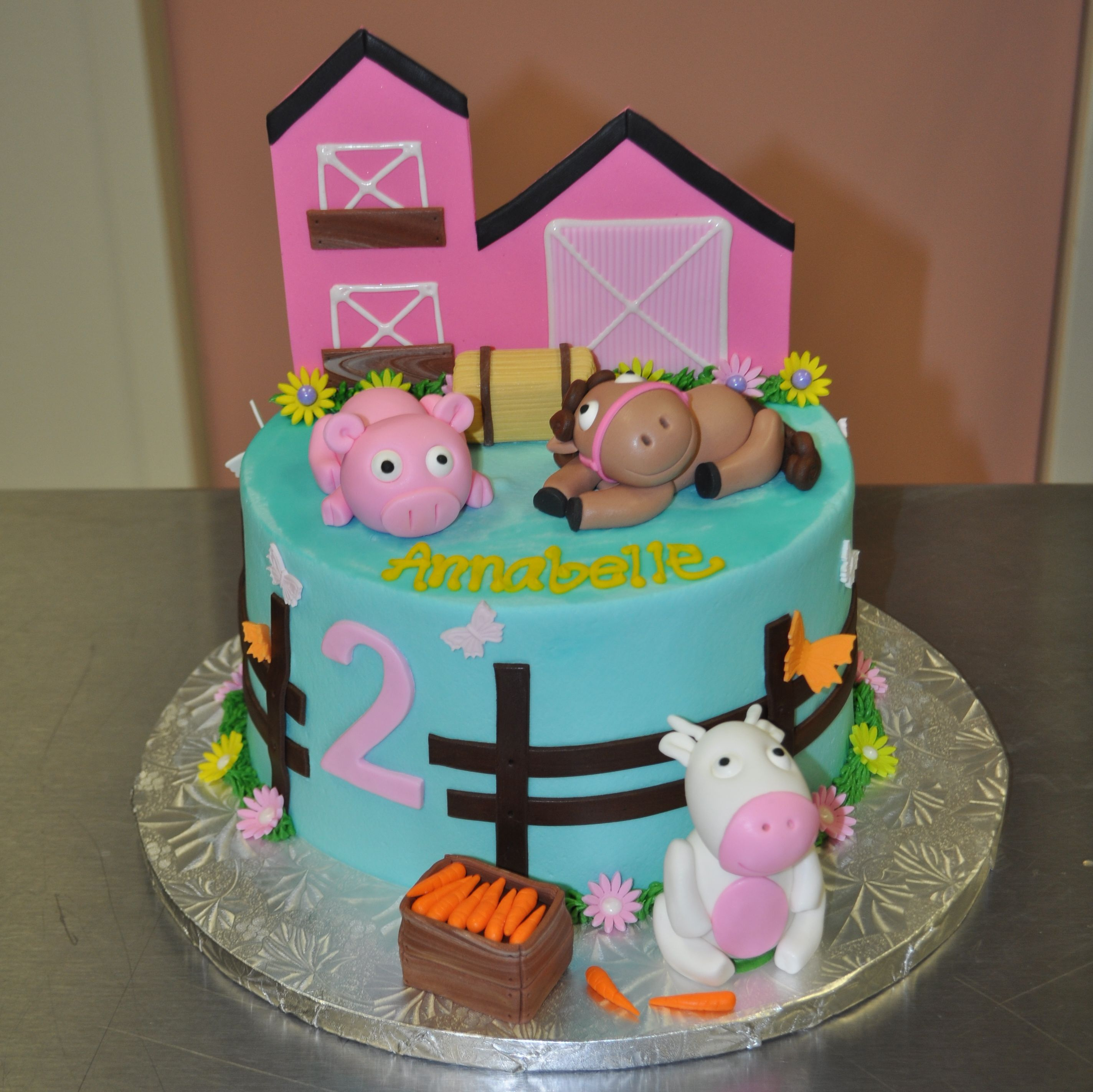 Girly Pink Farm House Barn Animal 2nd Birthday Cake Leah S