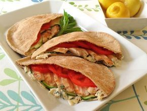 Grilled Chicken Pitas with Basil Cheddar Mayonnaise!