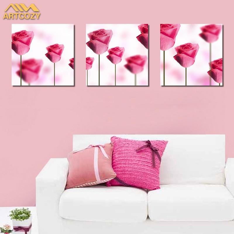 Modern Pink Roses Painting Set, 3 Pc | Pink roses, PC and Wall art sets
