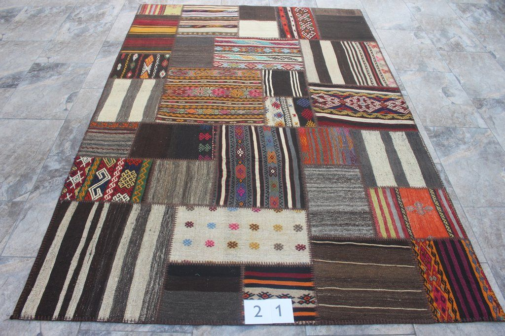 Patchwork Kilim Rug Distressed In Stock