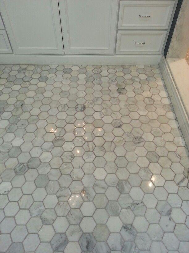 The Tile Shop Hampton Carrara 3 Hex Bathroom Renovation