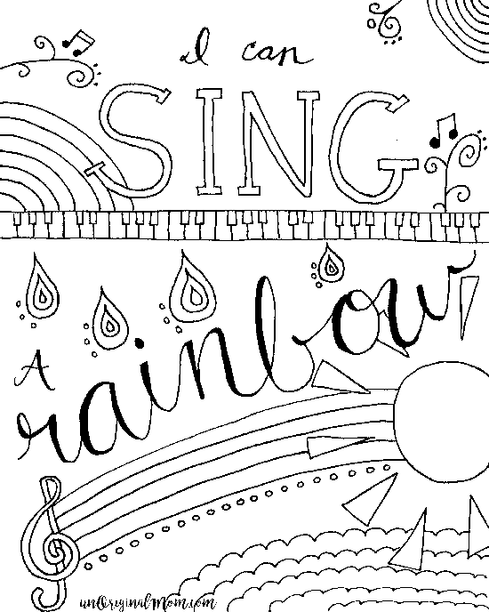 Relax & Color - Free Printable Musical Coloring Page