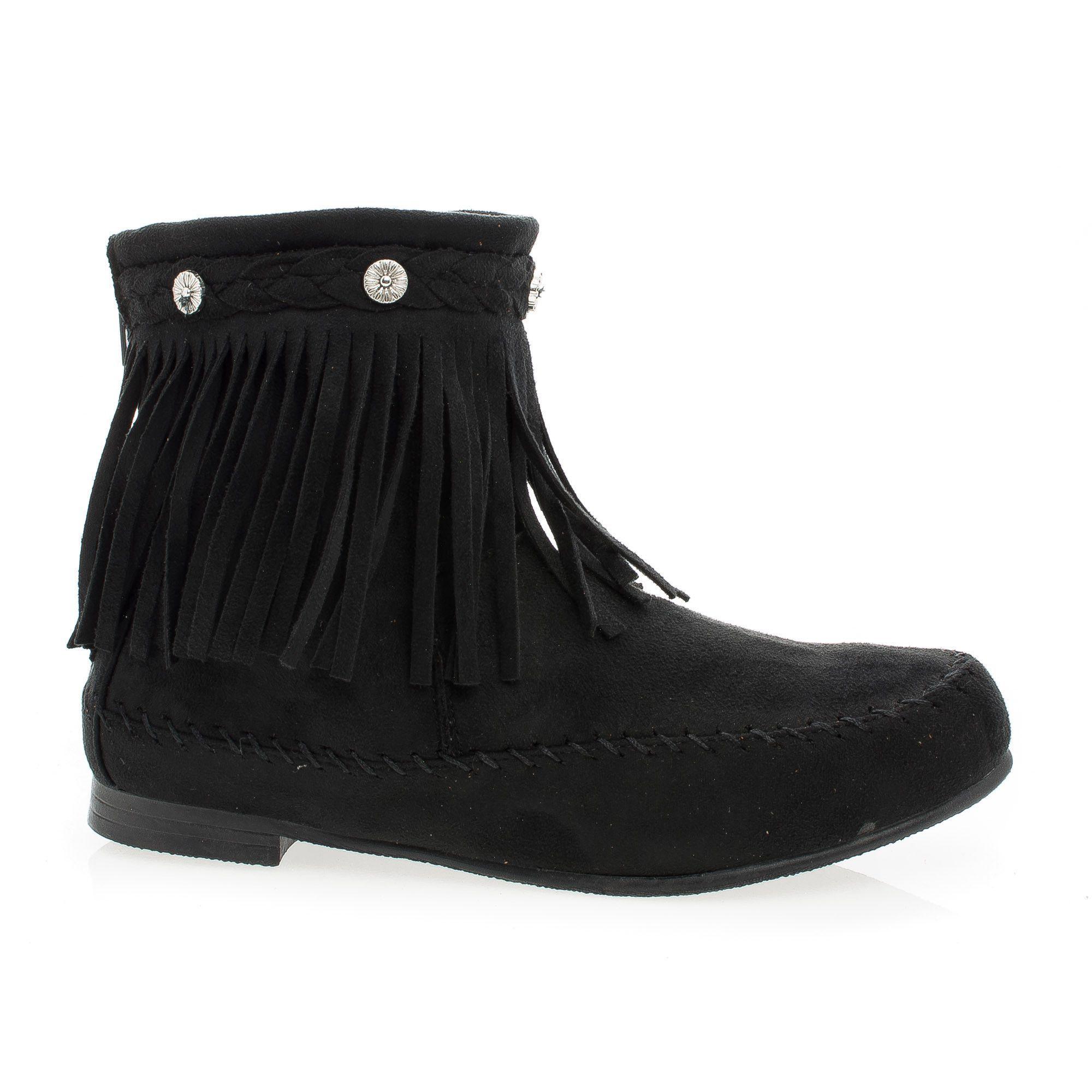 Starcy93 Moccasin Braid Fringe Round Toe Flat Ankle Boots