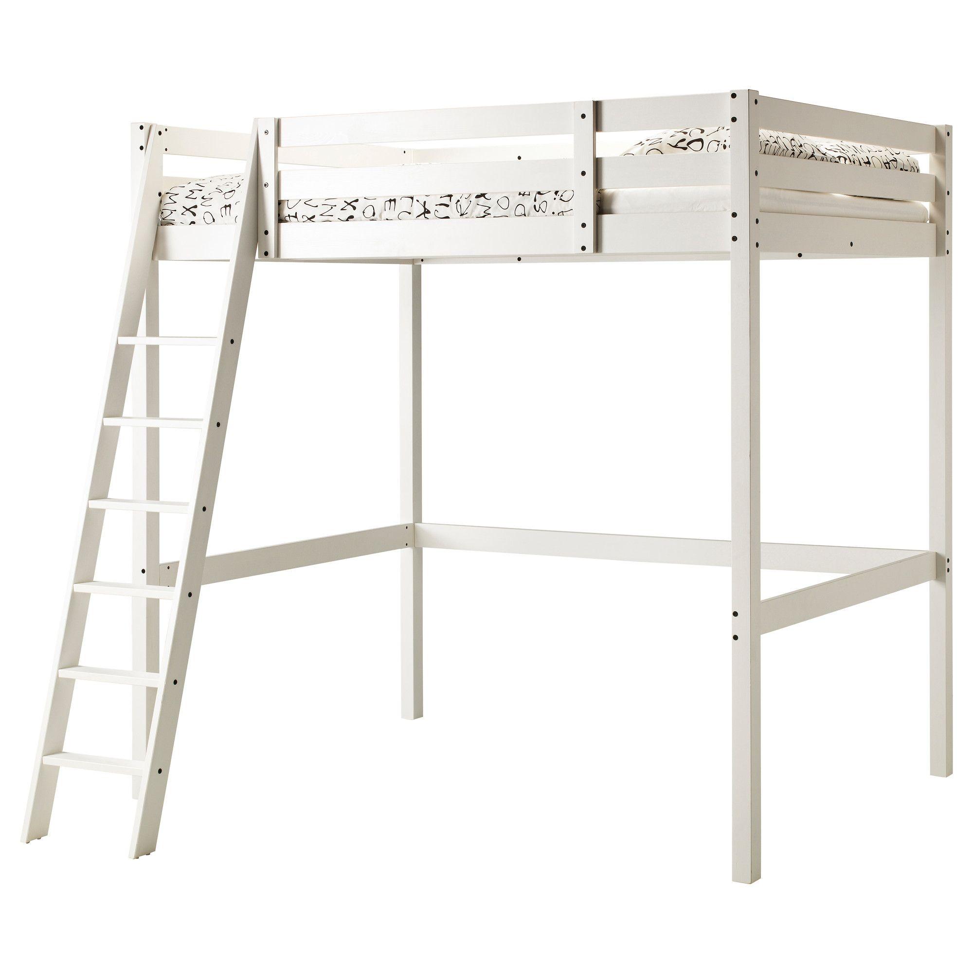 Stora Loft Bed Frame White Stain Double Ikea Loft Bed Loft
