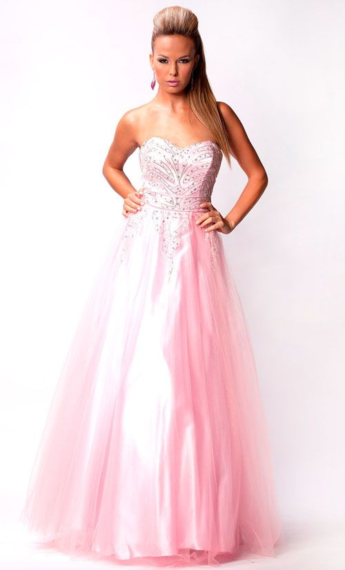 Baby Pink Strapless Fully Sequined & Rhinestone Bodice Ball Gown - Unique…