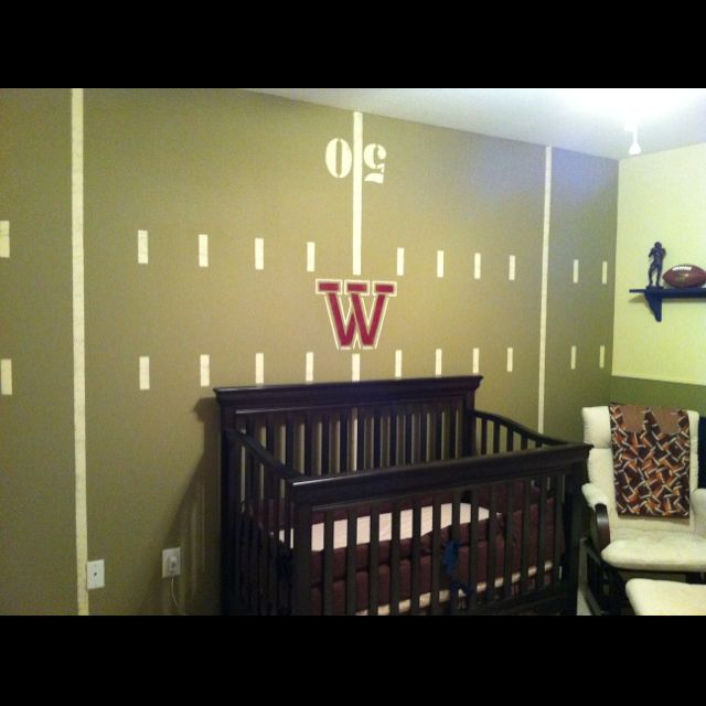 Football Field Wall For Cooper S Nursery Lots Of Home Made Stencils And Laser Lights