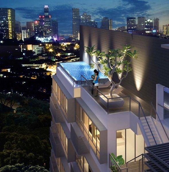 Roof top pool dream homes swimming pool designs pool for Rooftop pool design