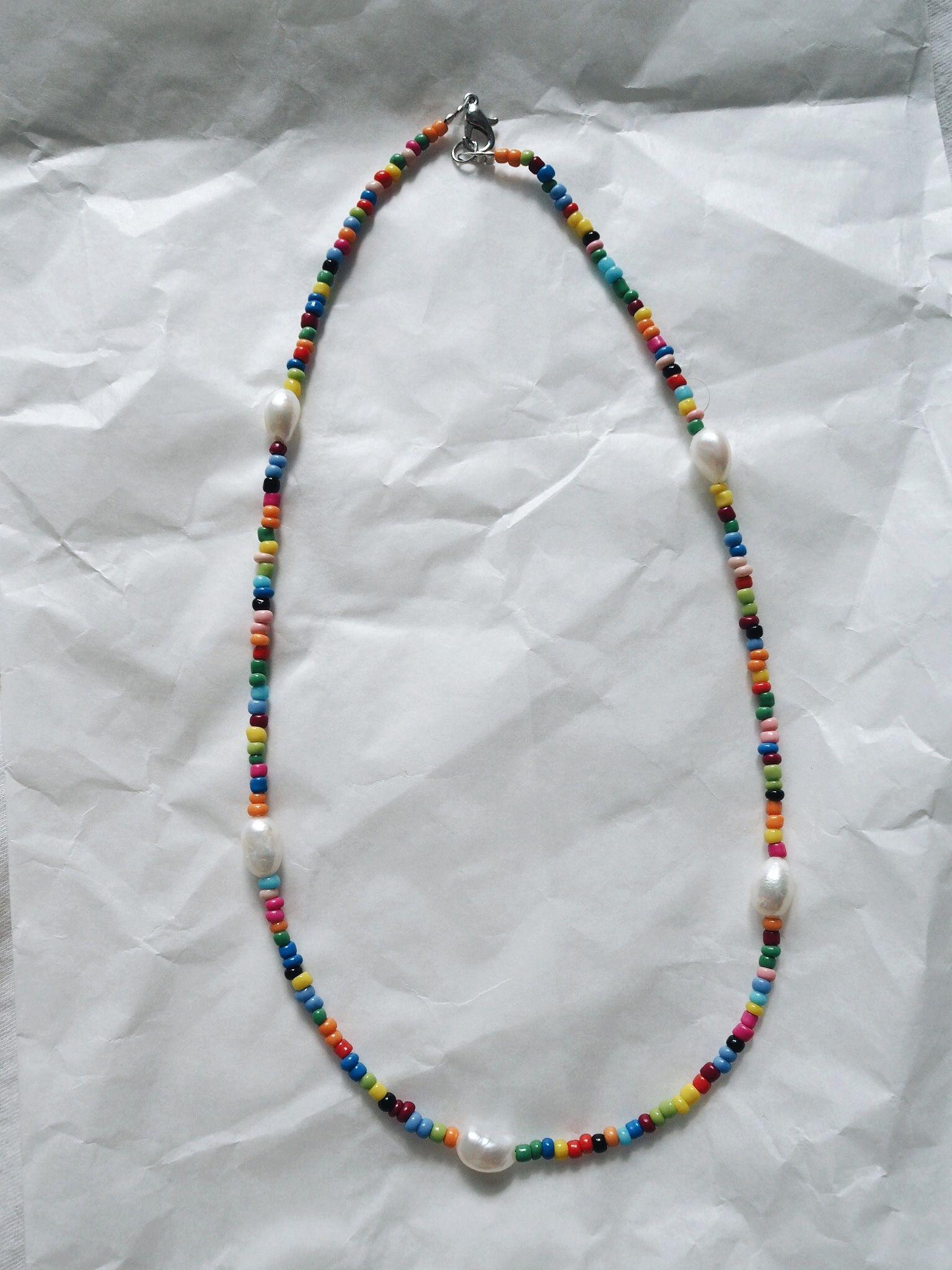 Photo of Selbstgemacht // Kette aus bunten Perlen
