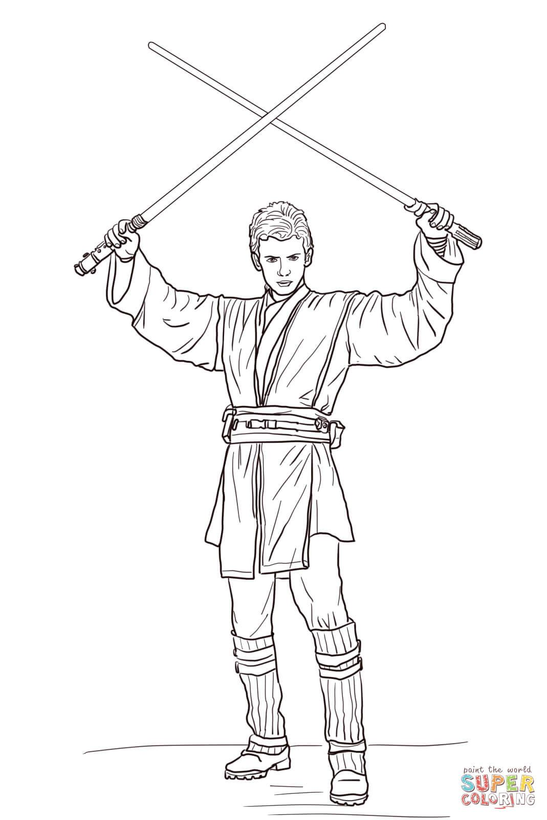 Anakin Skywalker with Two Lightsabers | Super Coloring | LineArt ...