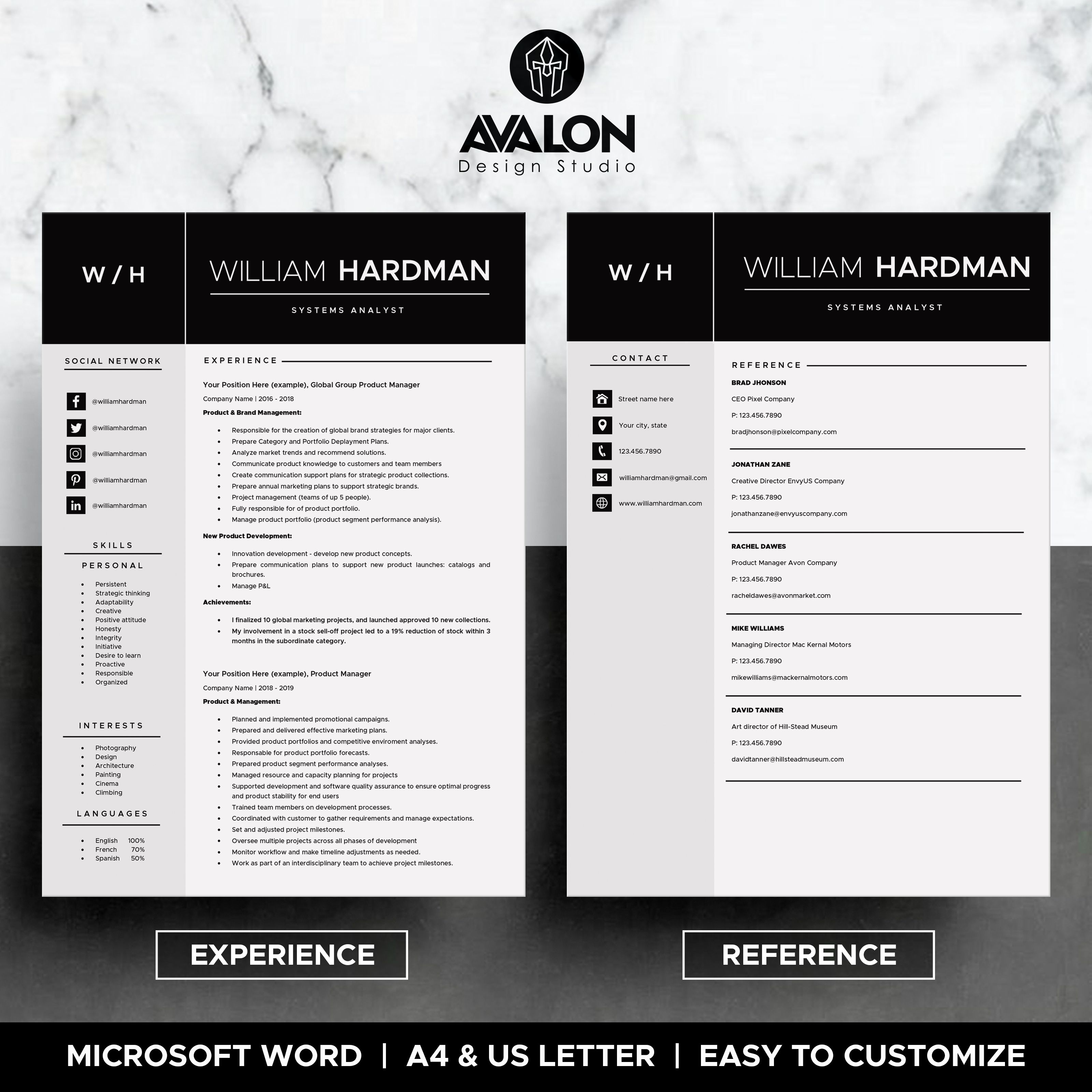 Professional Resume template for MS Word, 4 Pages, Modern