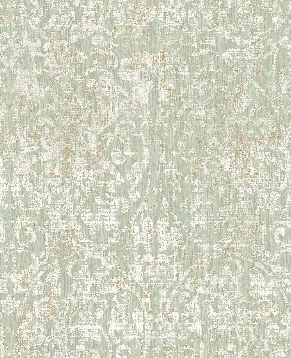 Hurst Damask by Elizabeth Ockford - Sage - Wallpaper ...