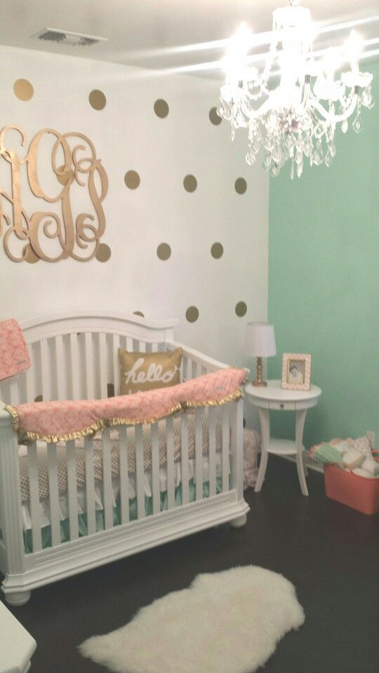 Coral, Mint, Gold Babygirl Nursery