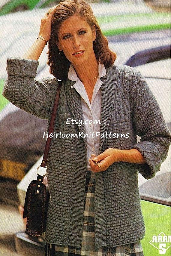 Ladies Jacket With Aran Patterned Yoke Knitting Pattern Aran 10ply