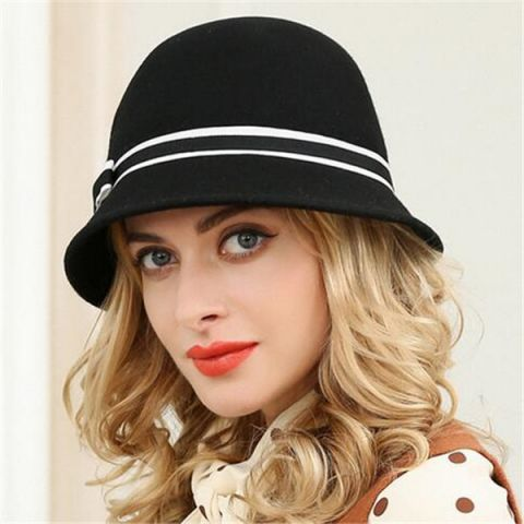 Bow bucket hat for women warm dome winter wool hats  0731836b8f0