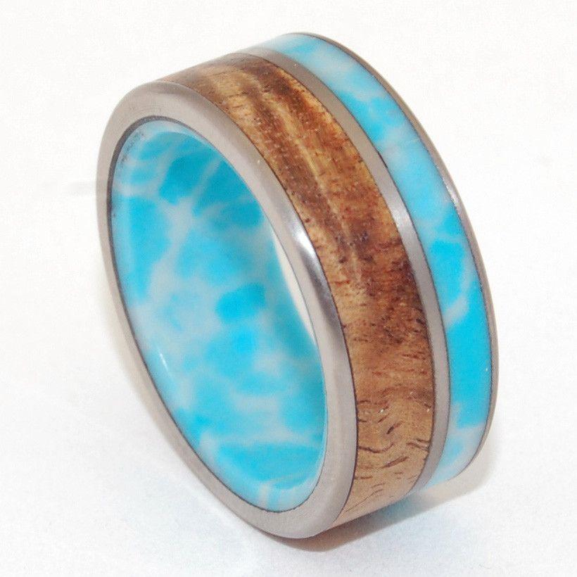 Liina Terra Larimar Stone Koa Wood Titanium Wedding Rings Titanium Wedding Rings Mens Wedding Rings Classic Wedding Rings