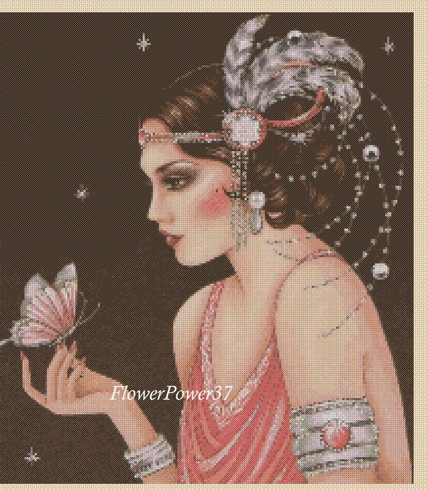 Cross stitch chart Art Deco Lady - No 133 FlowerPower37-uk FREE UK P&P--   eBay