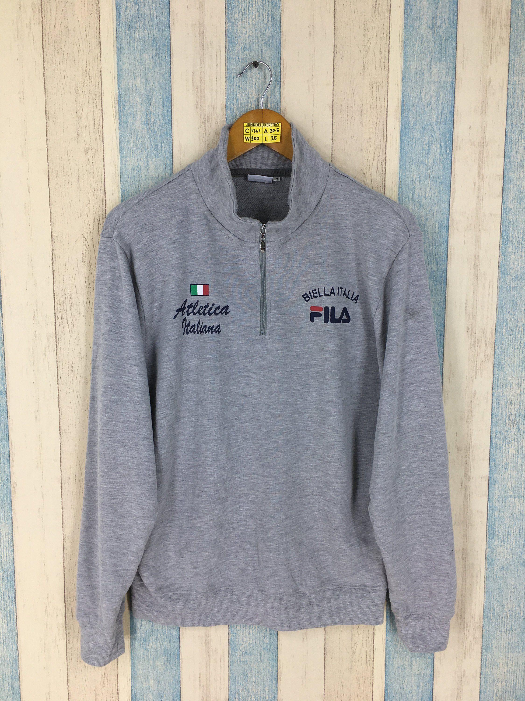 FILA Sweater Women Medium Biella Italia Spell Out Big Logo ...