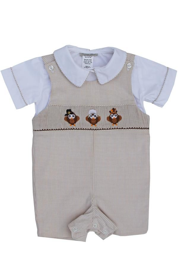 Boys Hand Smocked Thanksgiving Turkey Longall with Shirt