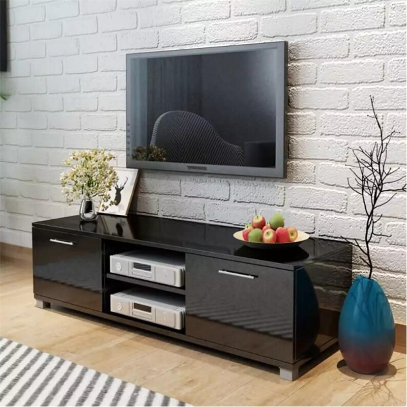 Tv Cabinet Glossy Black With 4 Cable Outlets 2 Shelves 2 Compartments With Doors In 2020 Furniture Design Living Room