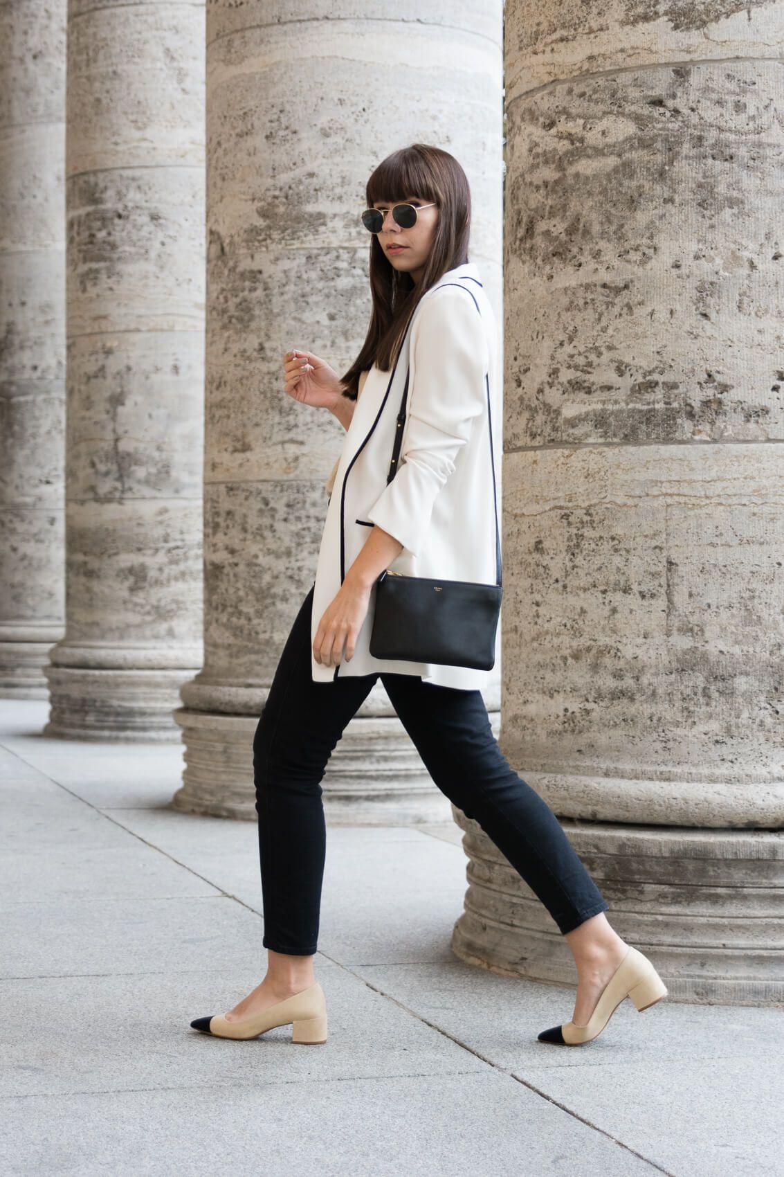 "Outfit details: blazer – Zara basic shirt – ADPT. jeans – Closed ""Pedal  Pusher"" pumps – Zara bag – Céline Trio sun glasses – Ray-Ban ""Round Metal""  choker ..."