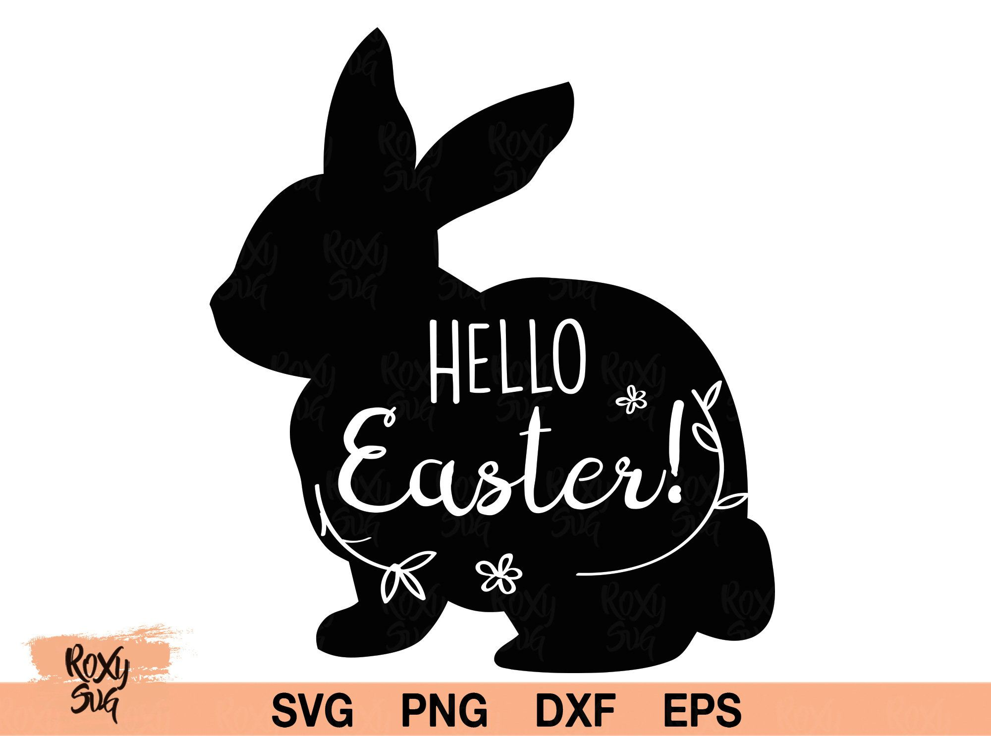 Bunny Ears with Yellow Flowers Rabbit Cricut Cut File Silhouette dxf SVG PNG Clip Art Download eps Holidays Happy Easter Spring