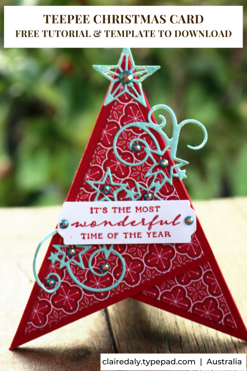 Free Stampin Up Pdf Tutorial For 3d Teepee Fun Fold Christmas Card Christmas Cards Free Stampin Up Christmas Cards Stamped Christmas Cards