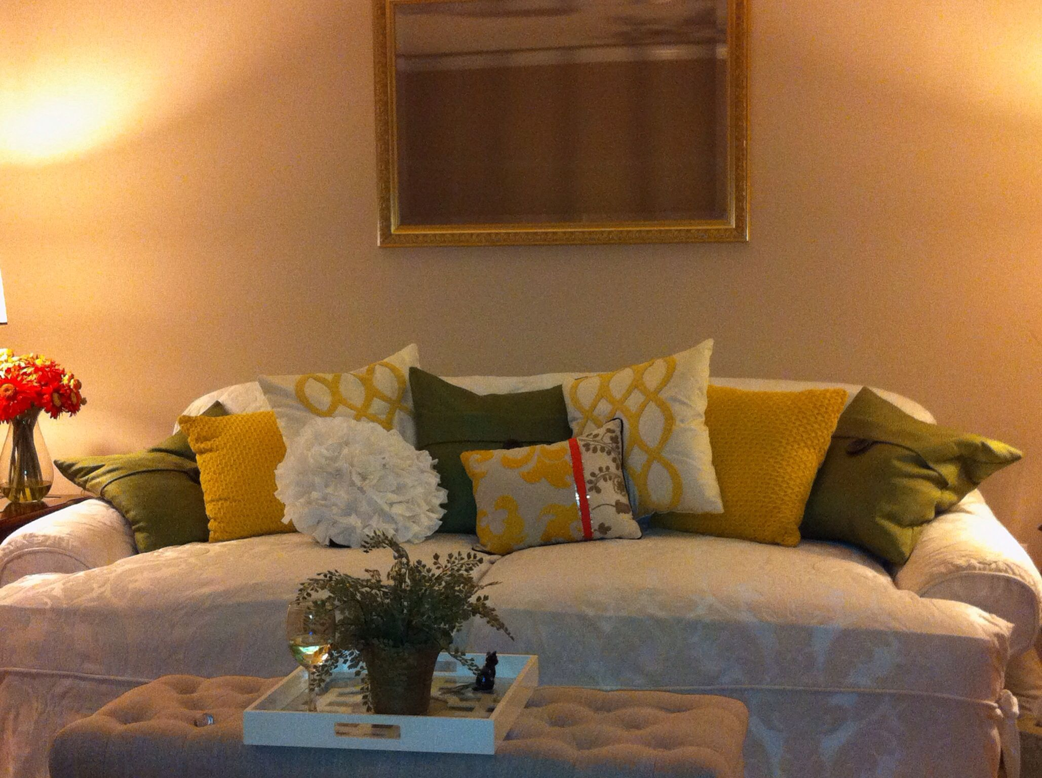 Updated Old Couch With New Pillows From Home Goods Slipcover From Surefit For The
