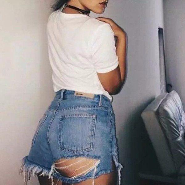 Womens High Waist Denim Shorts Ladies Back Zip And Lace Vintage Jeans Hot Pants