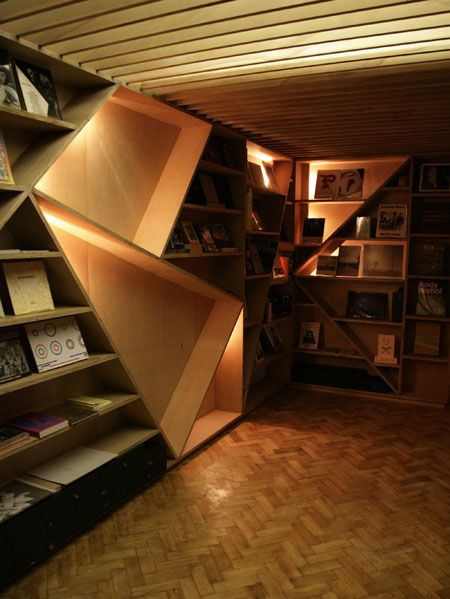 6e97c816534f LN-CC Concept Store. I like the wood - not sure about the odd angles. Love  the books.  )