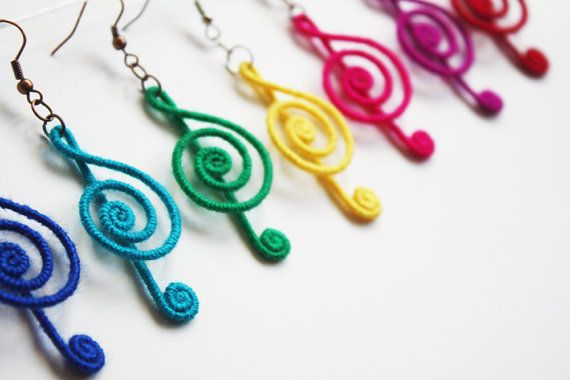 Treble Clef Earrings, Music Note Earrings, Musical Earrings, Rainbow Colors, red, pink, yellow, green, blue, navy, purple, black #trebleclef