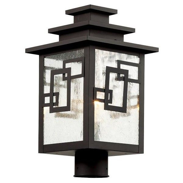 """Trans Globe Lighting Geo Tempo 16\"""" Post Light ($264) ❤ liked on Polyvore featuring home, outdoors, outdoor lighting, weathered bronze, outdoor post lamps, outside patio lights, outdoor post light, outside post lights and outdoor patio lights"""