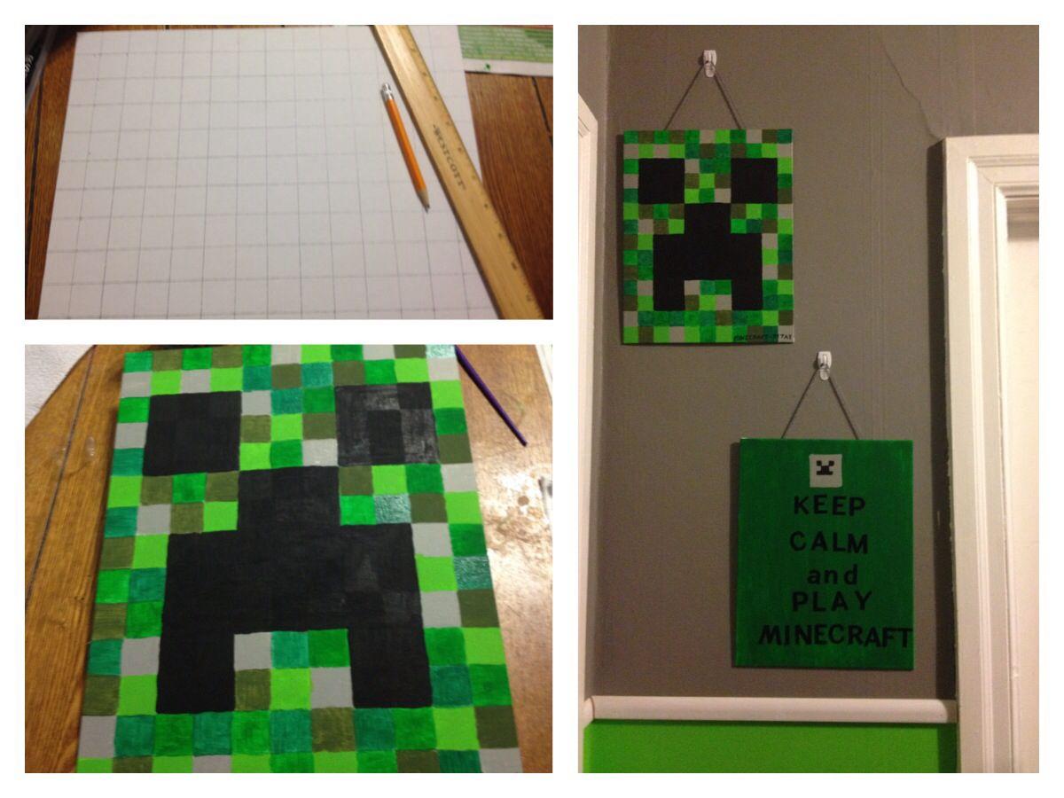 Diy Minecraft Wall Art Minecraft Wall Diy Minecraft Minecraft Room Decor