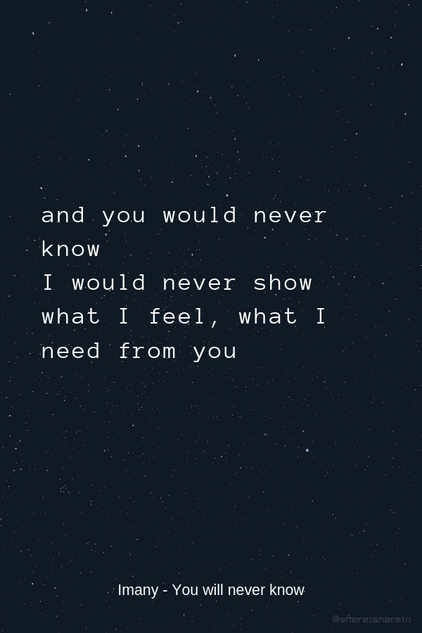 Imany - You will never know | Lyrics, Quotes, Feelings