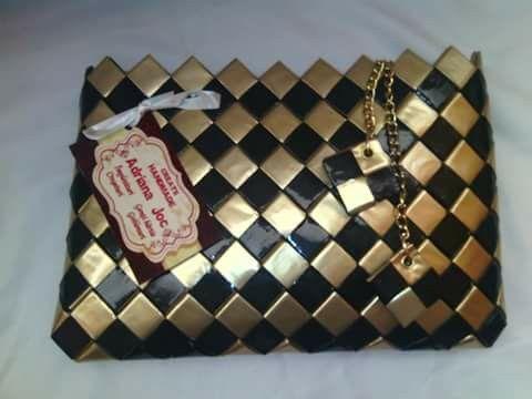 Plic Lucrat Manual Din Hartie Cerata Culoare Negru Auriu Beaded Bags Handmade Purses Candy Bags
