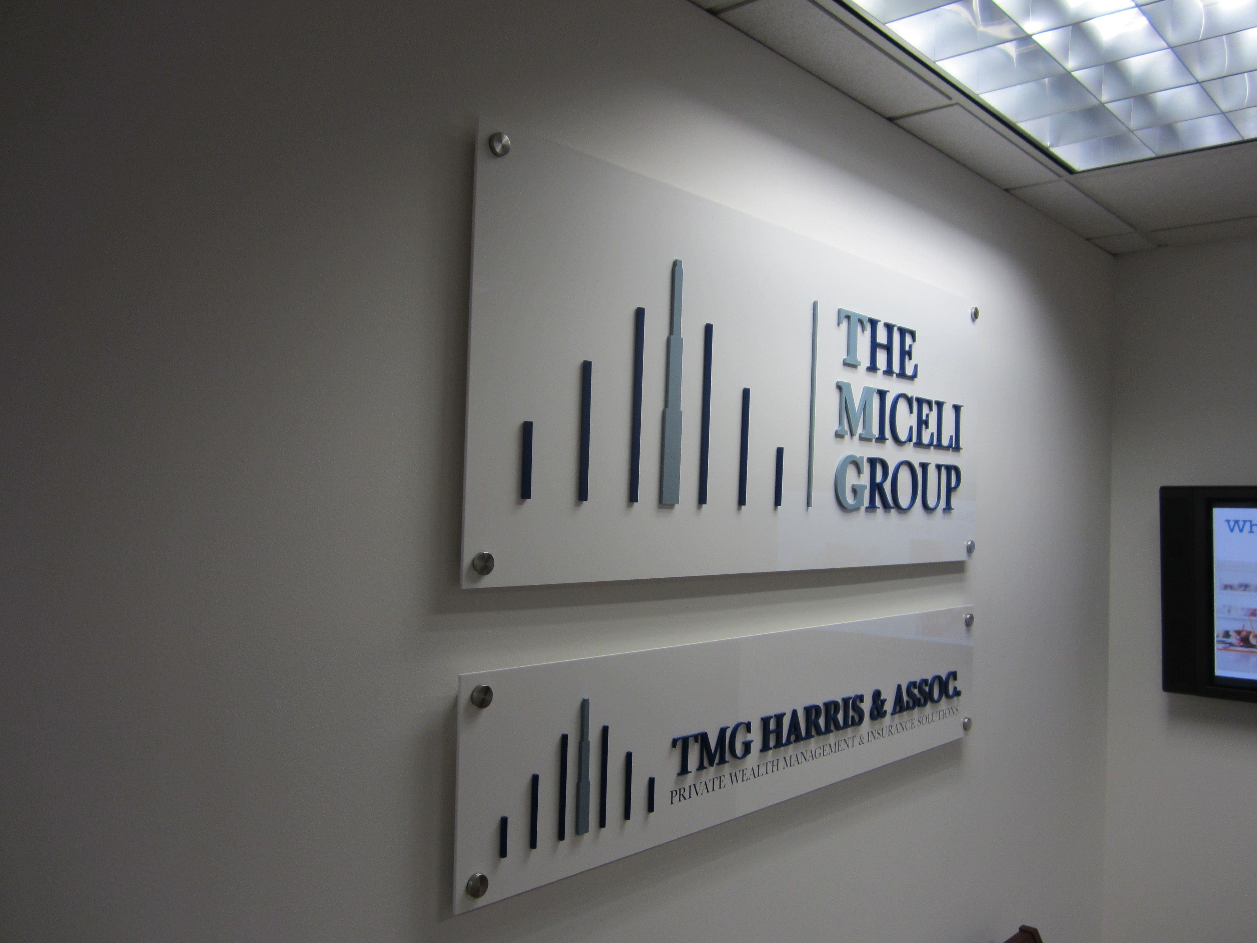 3d Letters On White Acrylic For Office Wall Signs