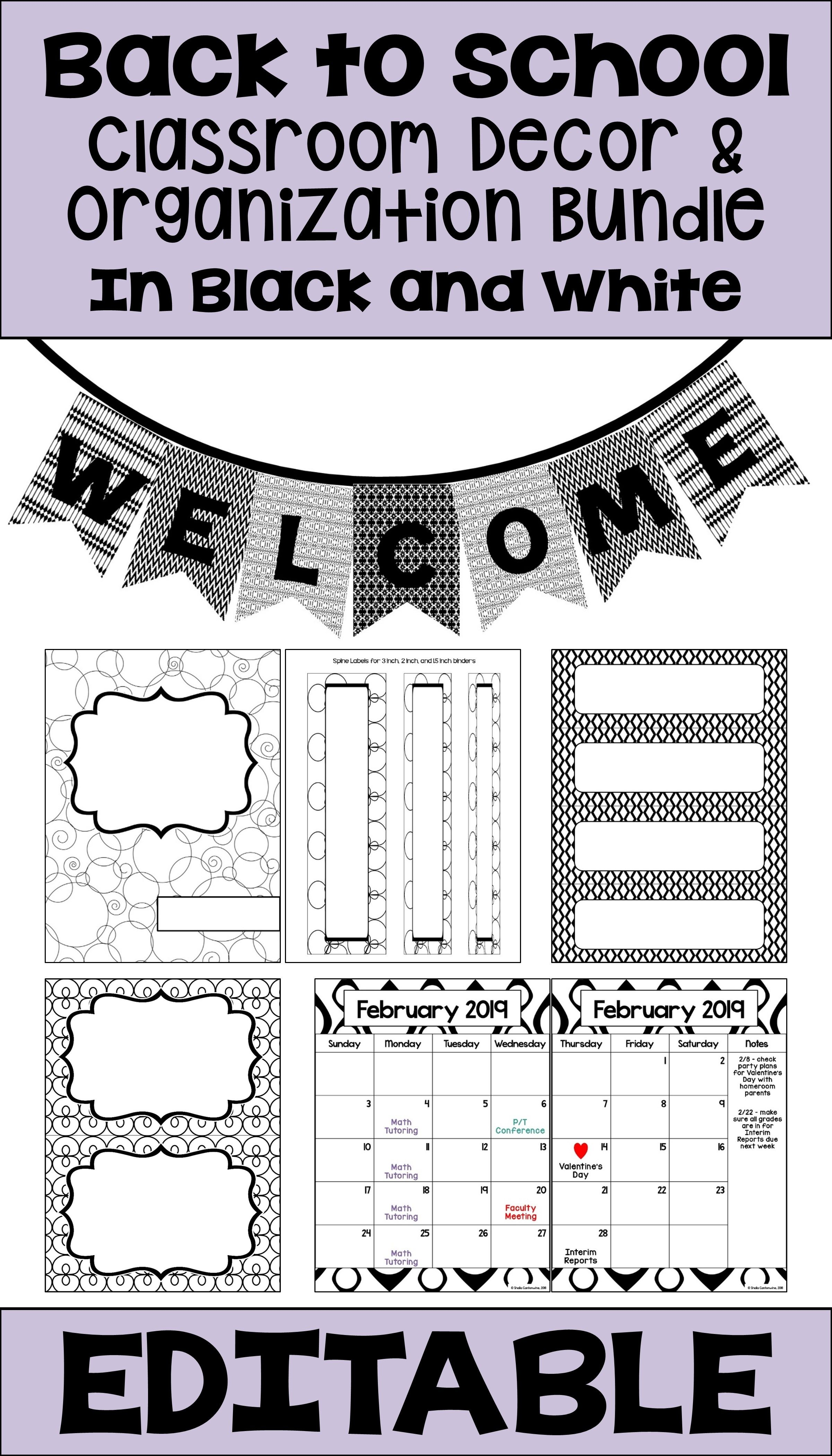 back to school editable classroom organization and decor bundle