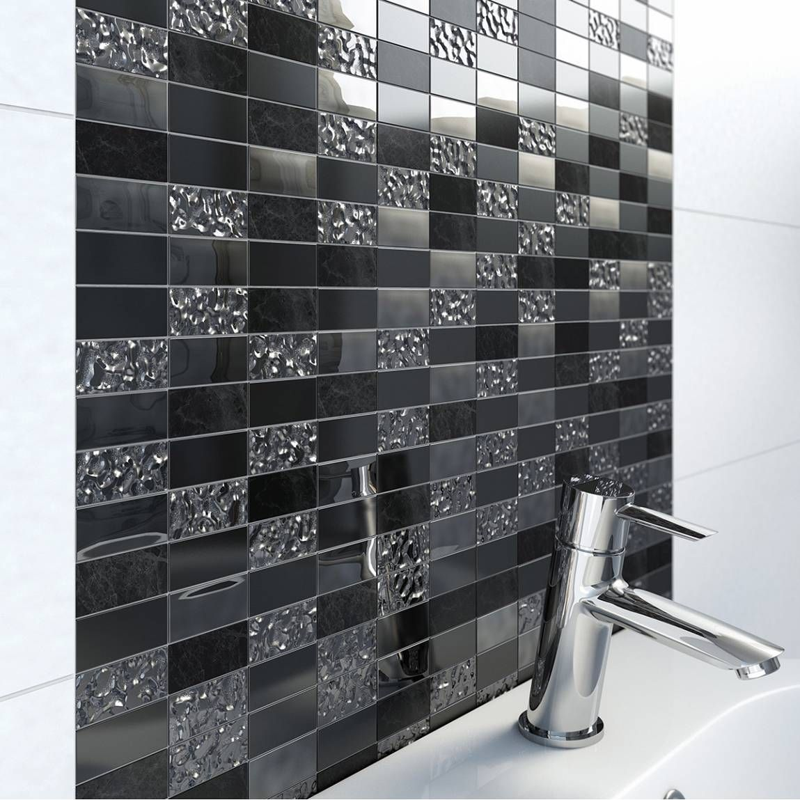 Wickes Kitchen Floor Tiles Wickes Black Silver Leaf Motif Gloss Glass Mosaic Tile Sheet
