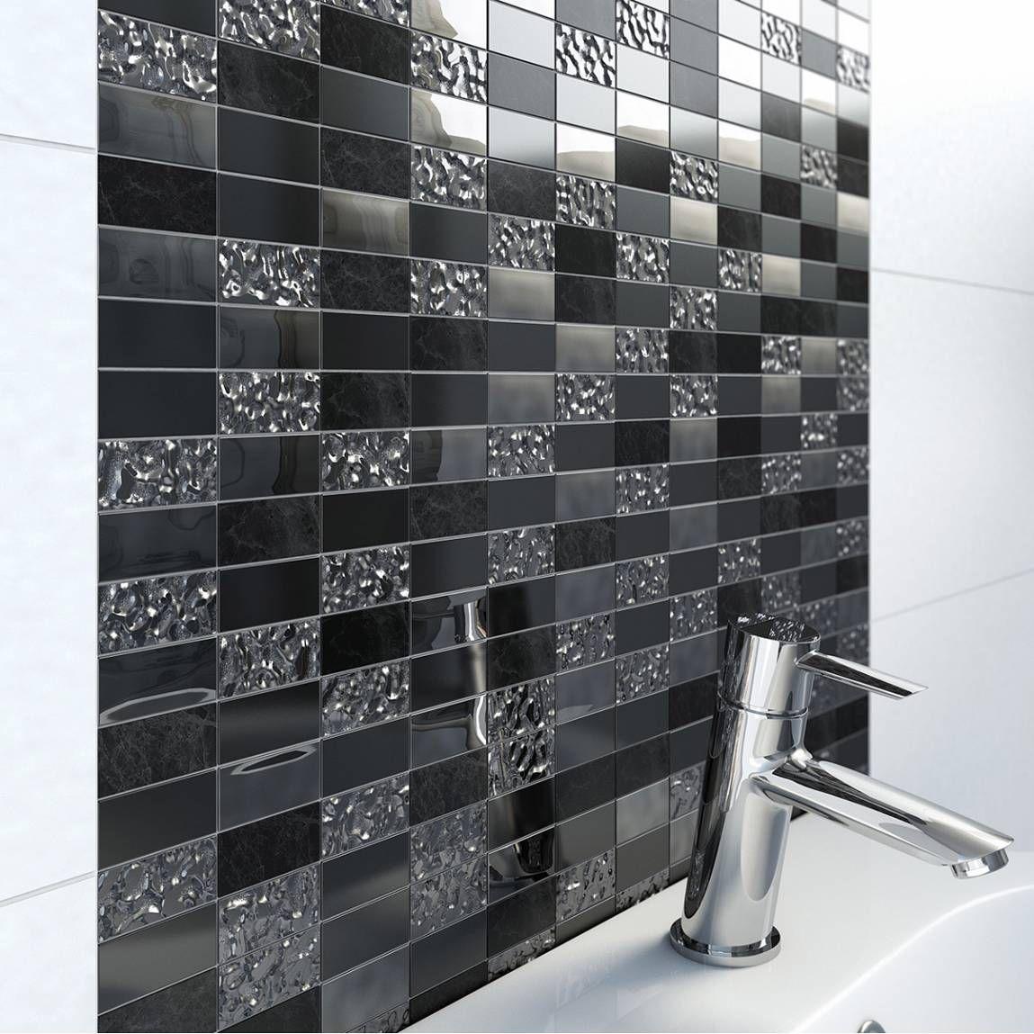 Trevi Black Linear Glass & Stone Mosaic Tile 30.5cm x 30.5cm - Now ...