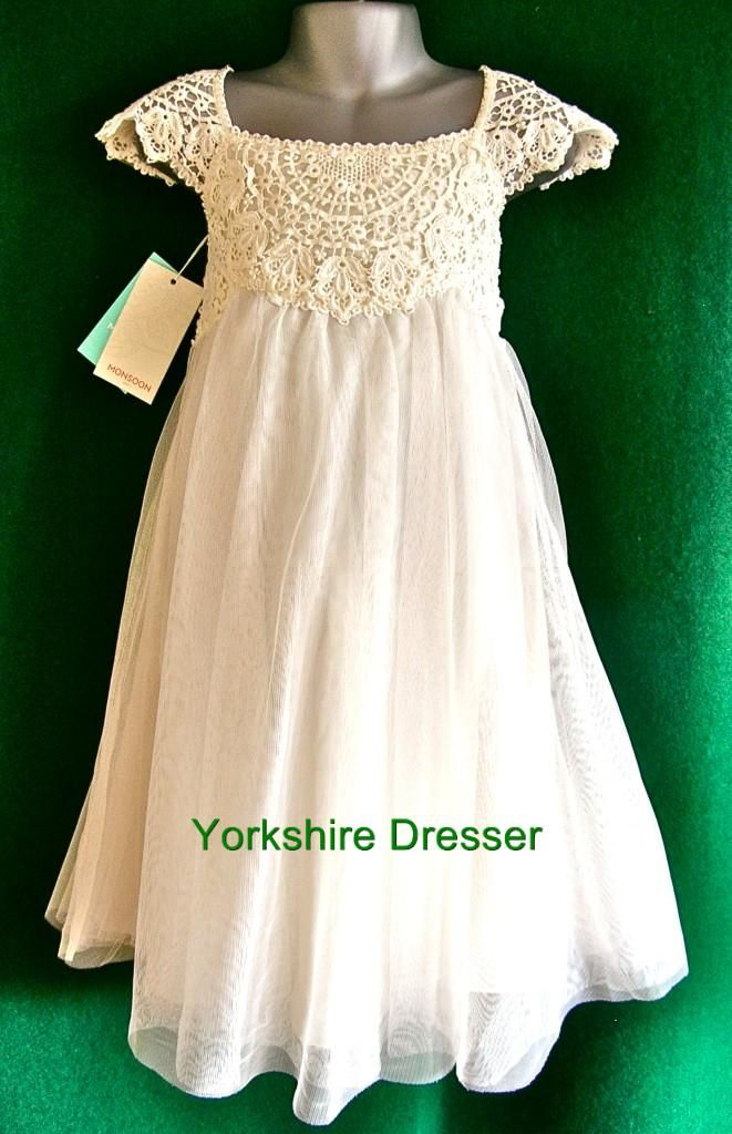New MONSOON Girls Ivory ESTELLA Lace Tulle Party Bridesmaid Dress ...