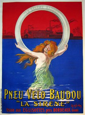 """Pneu Velo Baudou """"La Sirene"""" from 1912 France... #Cappiello"""