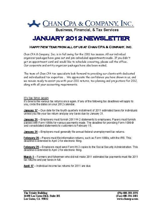 June 2012 Newsletter Page 1 Chan CPA Monthly