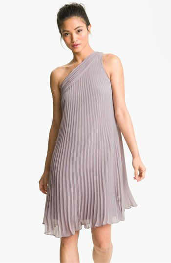 Donna Morgan One Shoulder Pleated Chiffon Dress Available At Nordstrom Light Purple And Blush