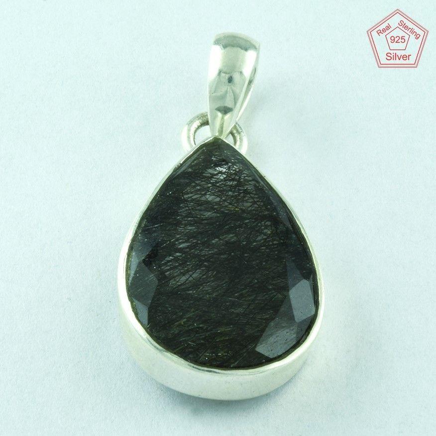 Fascinating Black Rutile 925 Real Sterling Silver Pendant Jewellery P2529…