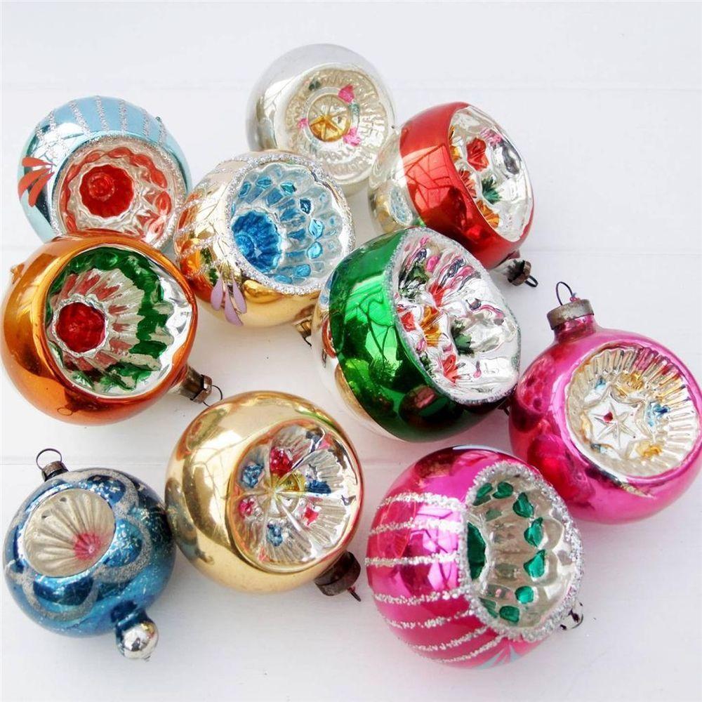 Vintage Gl Christmas Tree Baubles Decorations Ornaments Set 10 Concave