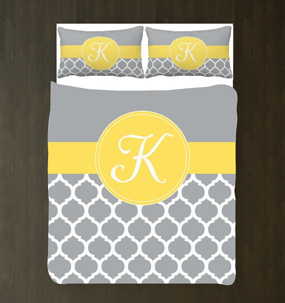 Yellow Grey And White Quatrefoil Duvet Bedding Set Personalized Monogram Initial Custom Any Colors Twin Full Queen King