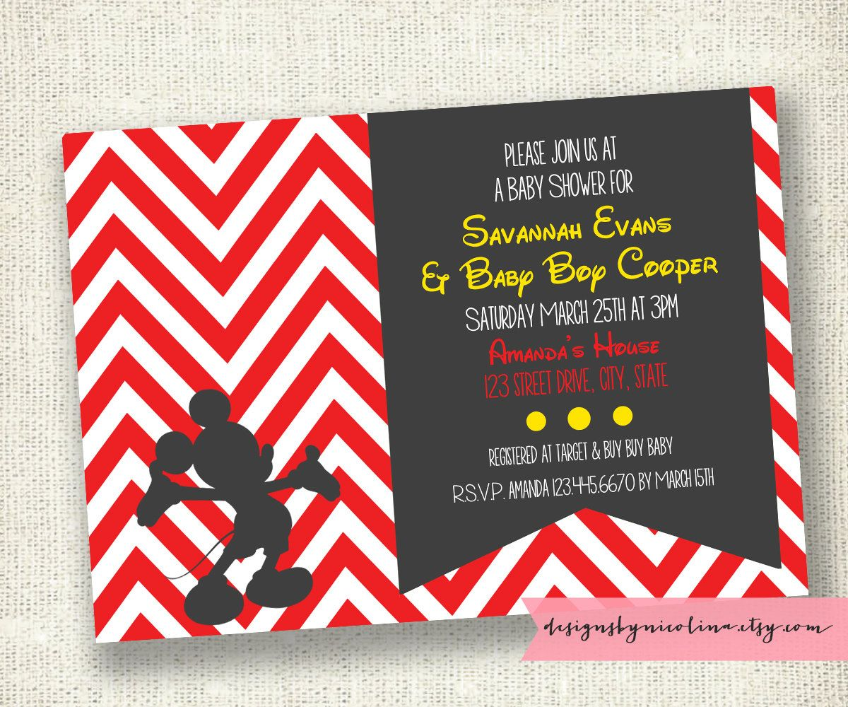 Modern Chevron Mickey Mouse Baby Shower or Kids Party - PRINTABLE ...