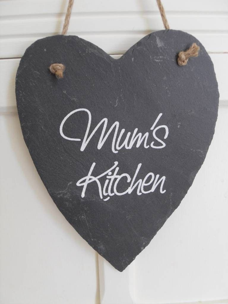 MUM'S KITCHEN CHIC N SHABBY SLATE HANGING LOVE HEART via Bluelake Interiors                       free UK postage . Click on the image to see more!