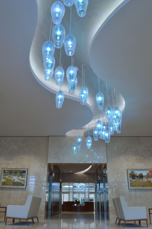 Wimberley glassworks briarpark blown glass lighting installation
