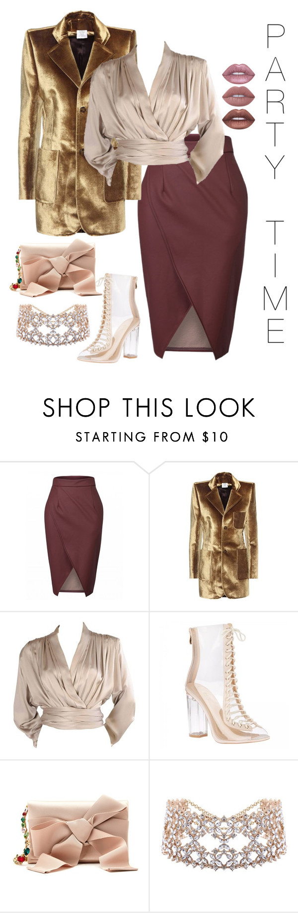 """Party time"" by audrianaj ❤ liked on Polyvore featuring Vetements, Yves Saint Laurent, Oscar de la Renta, Lime Crime, NewYears and party"