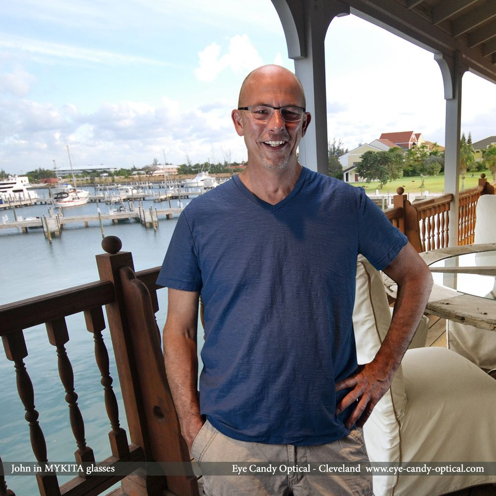 John looks out over the waters of Freeport Bahamas in his new Mykita glasses.  Eye Candy - Fashion Chill Bahamian Style!  Be who you want to be at Eye Candy Optical! www.eye-candy-optical.com